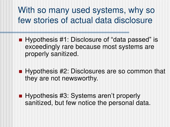 With so many used systems, why so few stories of actual data disclosure