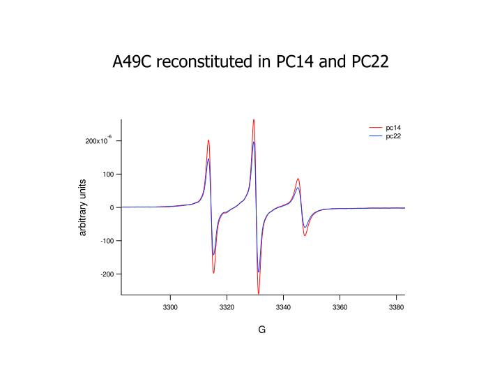A49C reconstituted in PC14 and PC22