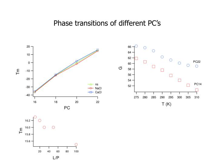 Phase transitions of different PC's