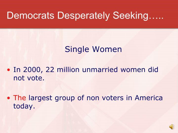 Democrats Desperately Seeking…..