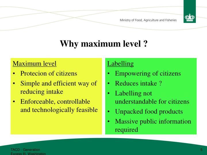 Maximum level