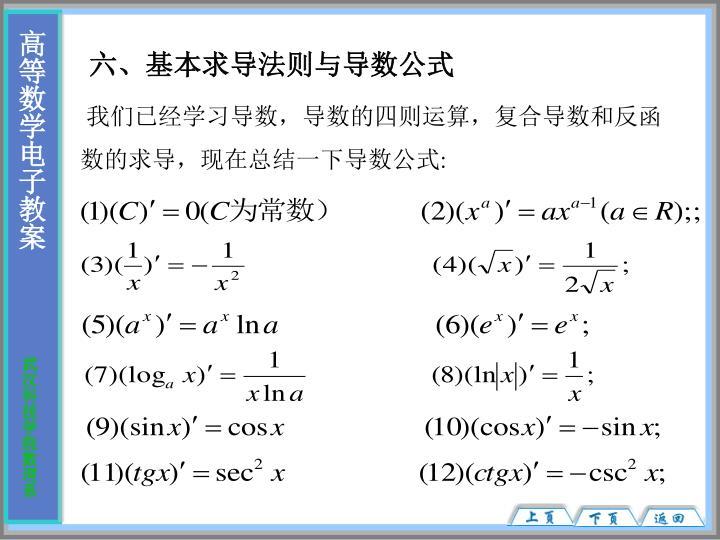 六、基本求导法则与导数公式