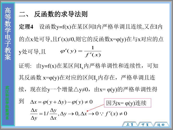 二、 反函数的求导法则
