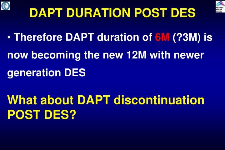 DAPT DURATION POST DES