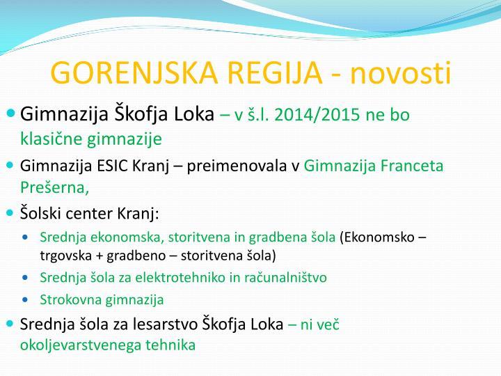 GORENJSKA REGIJA - novosti