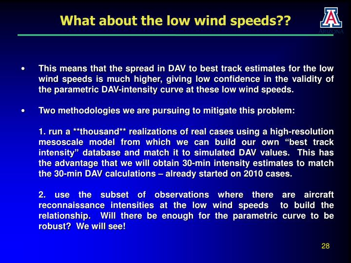 What about the low wind speeds??