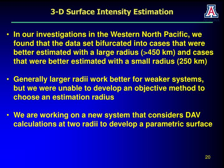 3-D Surface Intensity Estimation