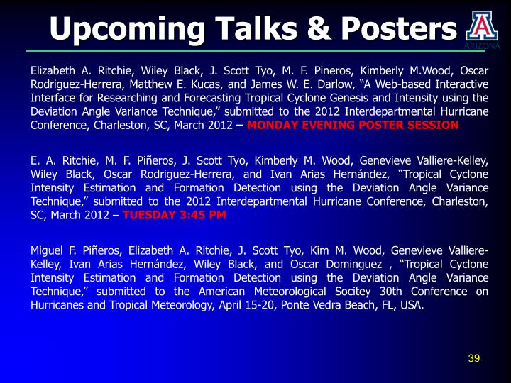 Upcoming Talks & Posters