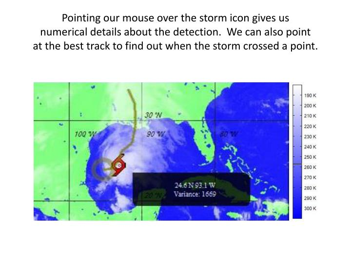 Pointing our mouse over the storm icon gives us