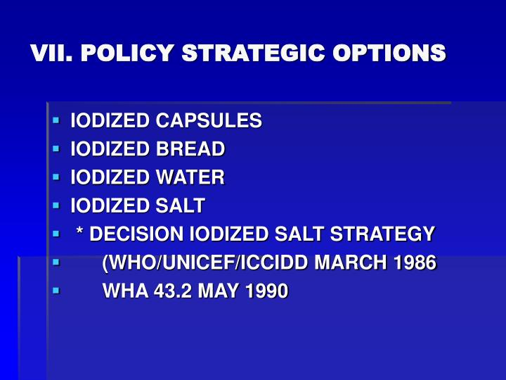 VII. POLICY STRATEGIC OPTIONS