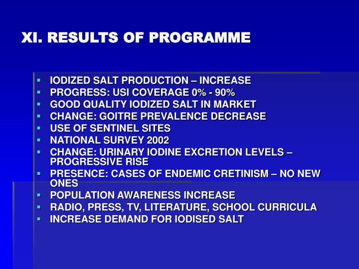 XI. RESULTS OF PROGRAMME