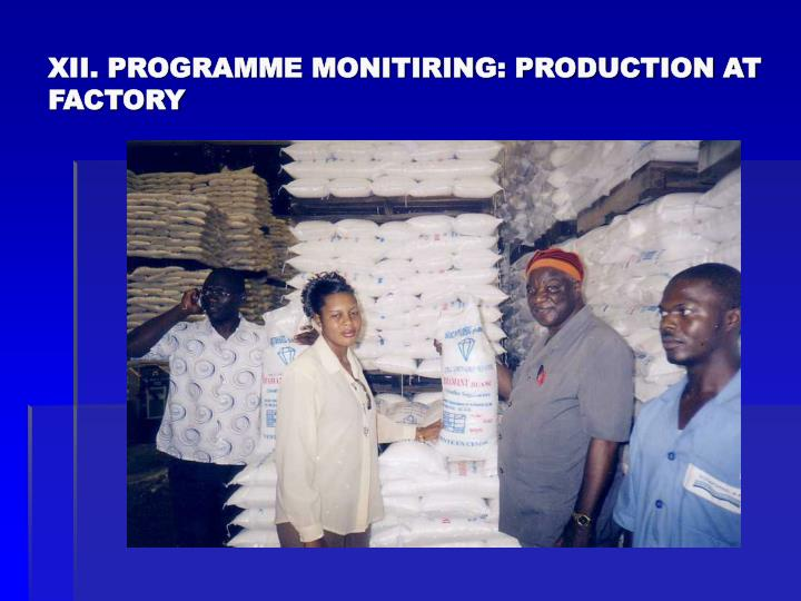 XII. PROGRAMME MONITIRING: PRODUCTION AT FACTORY