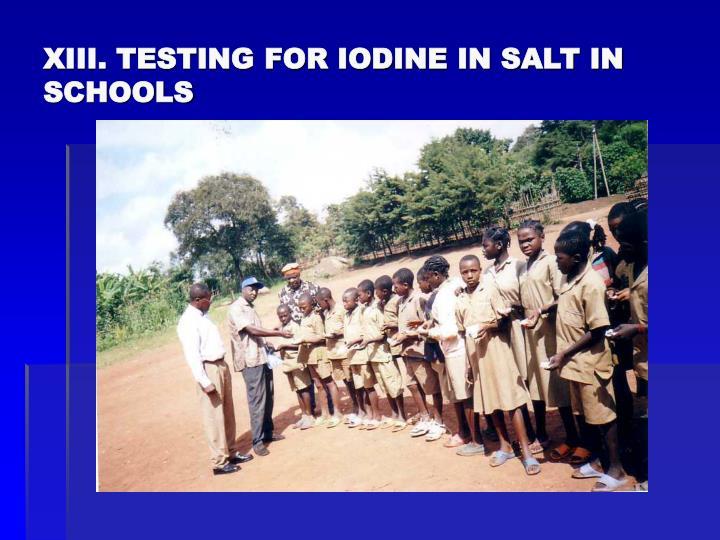 XIII. TESTING FOR IODINE IN SALT IN SCHOOLS
