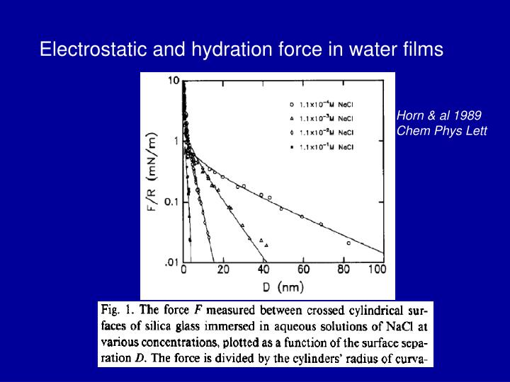 Electrostatic and hydration force in water films