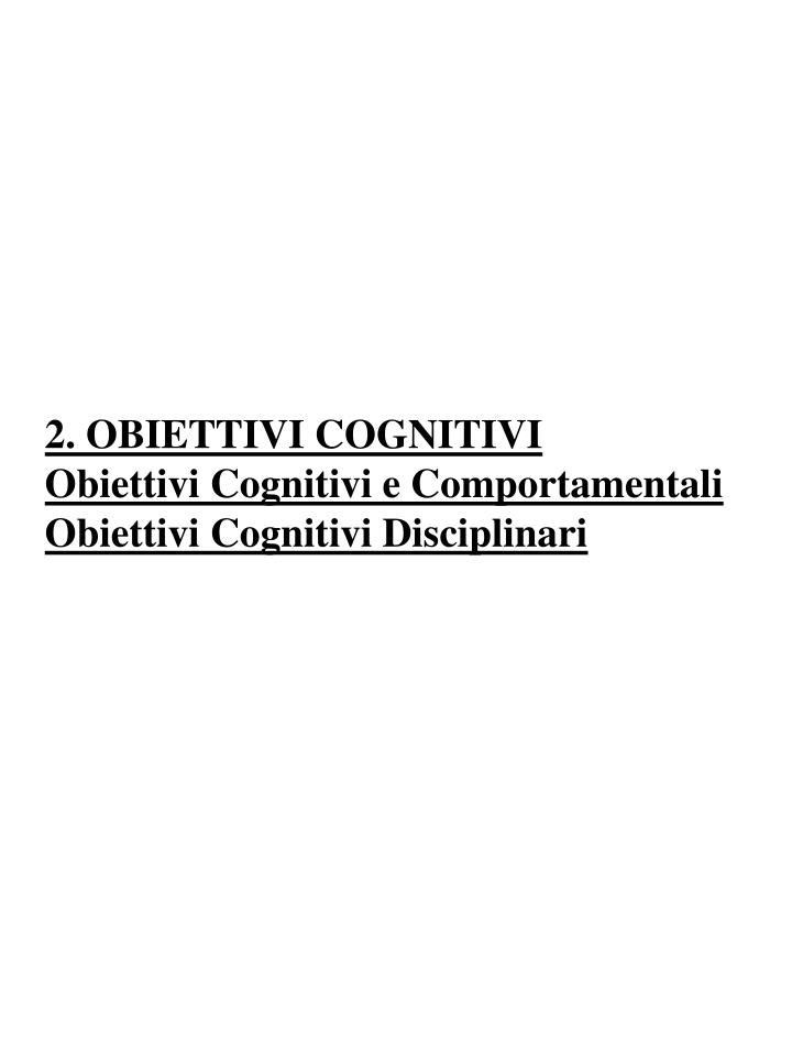 2. OBIETTIVI COGNITIVI