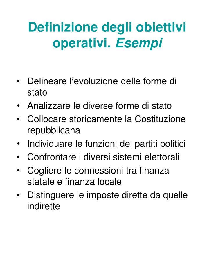 Definizione degli obiettivi operativi.