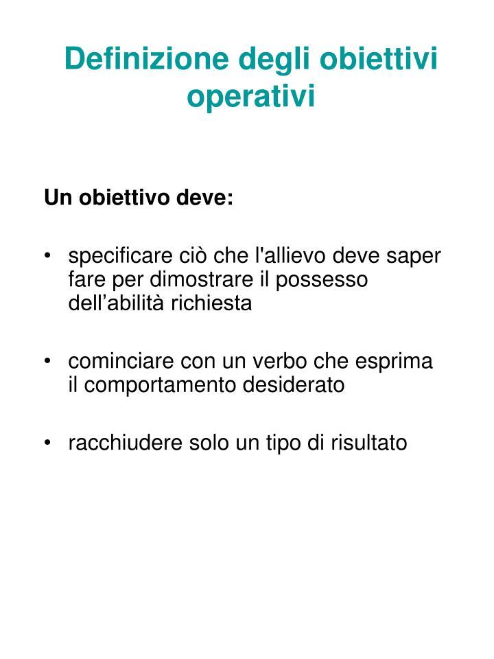 Definizione degli obiettivi operativi