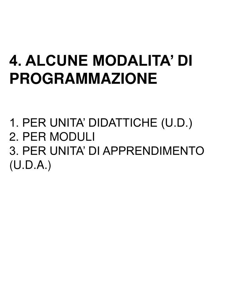 4. ALCUNE MODALITA' DI PROGRAMMAZIONE