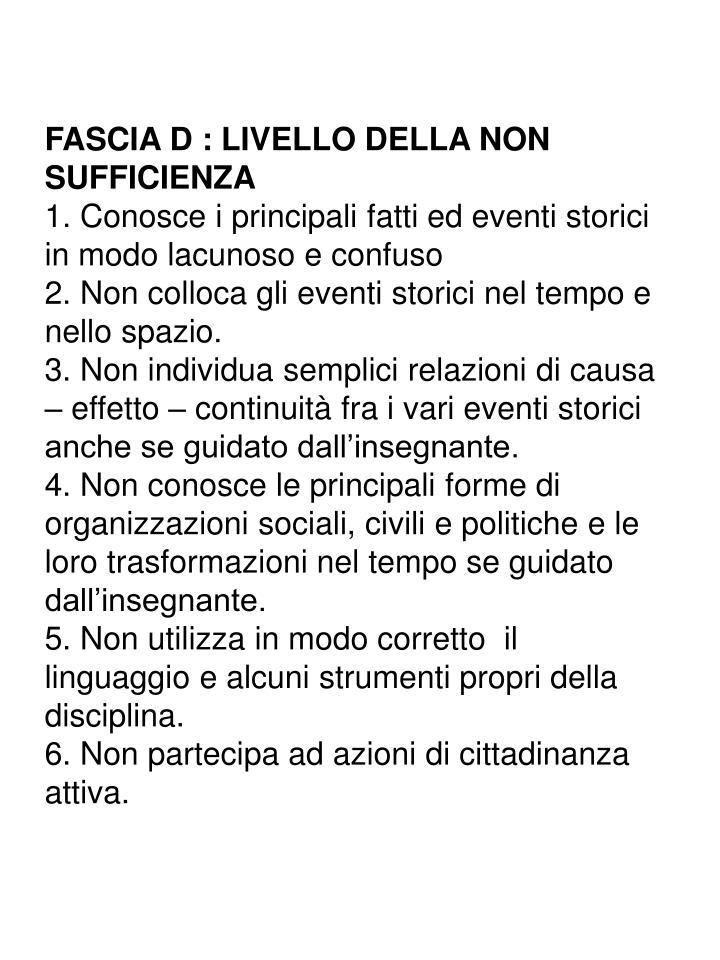 FASCIA D : LIVELLO DELLA NON SUFFICIENZA