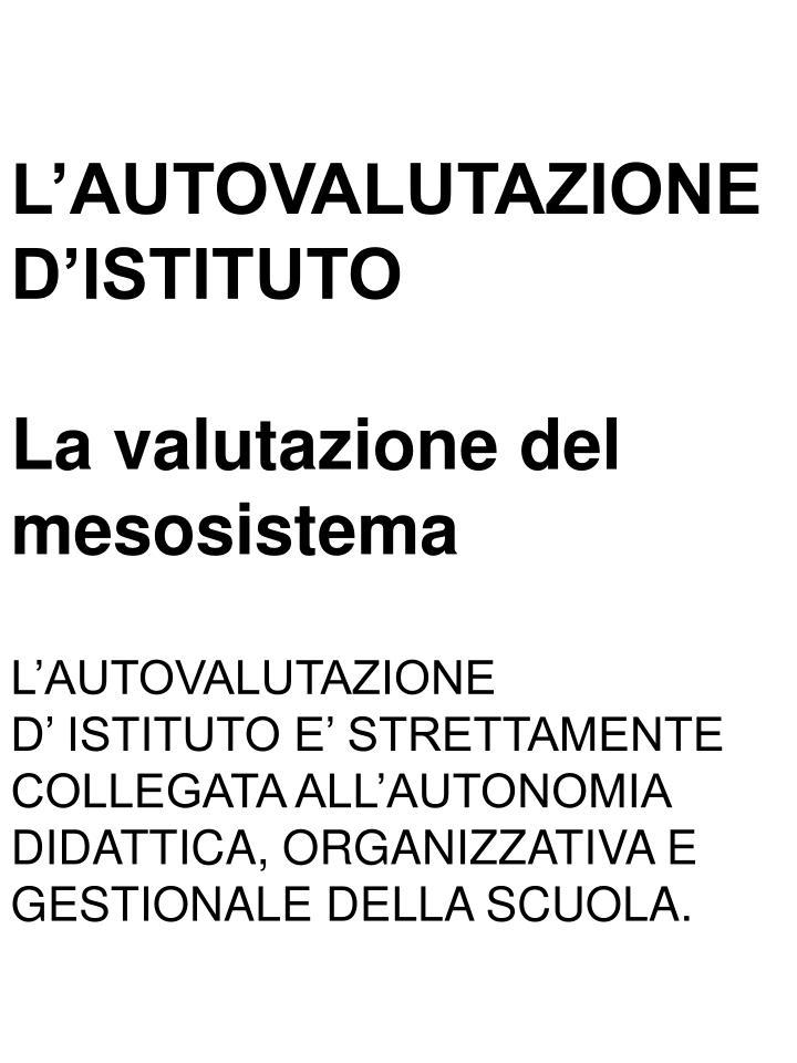L'AUTOVALUTAZIONE D'ISTITUTO
