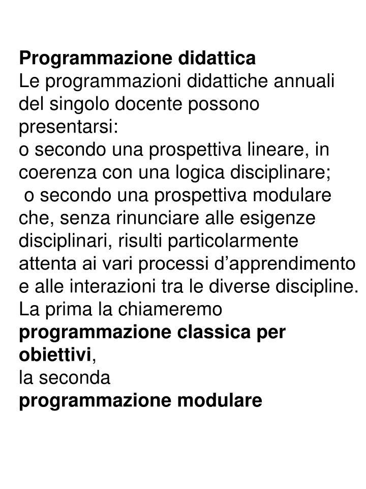 Programmazione didattica