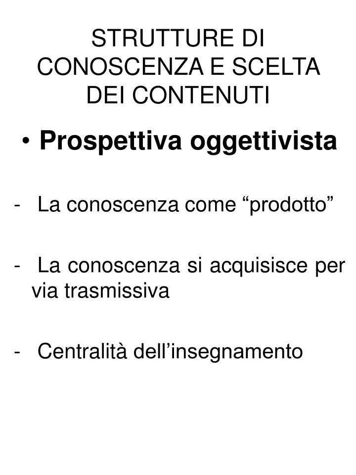 STRUTTURE DI CONOSCENZA E SCELTA DEI CONTENUTI