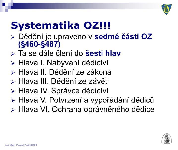 Systematika OZ!!!