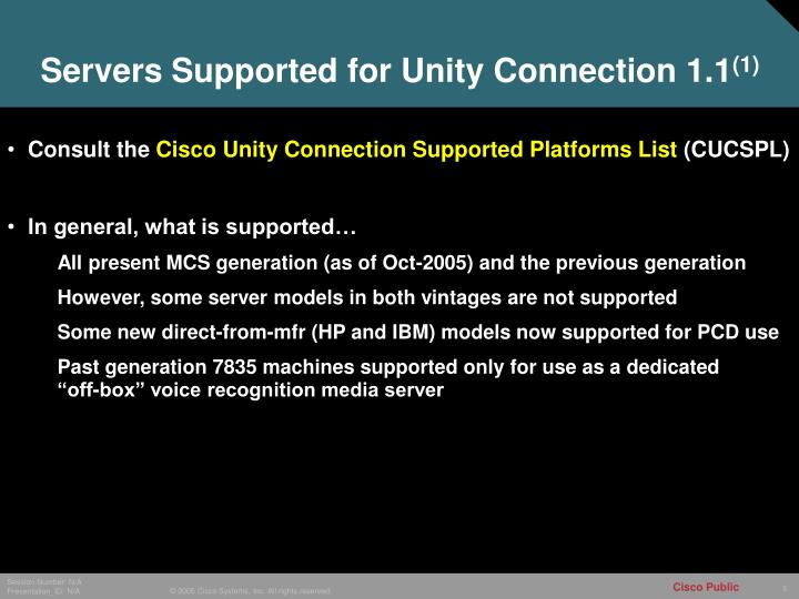 Servers Supported for Unity Connection 1.1