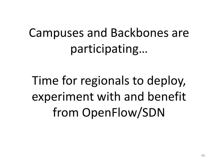 Campuses and Backbones are participating…