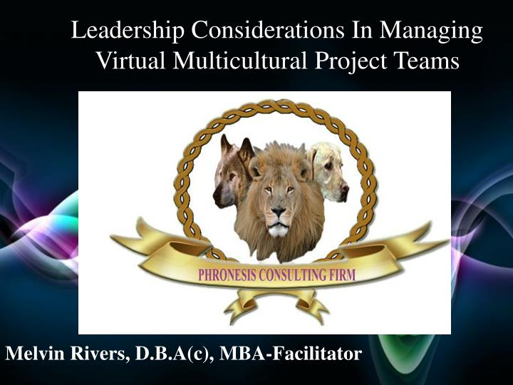 Melvin Rivers, D.B.A(c), MBA-Facilitator