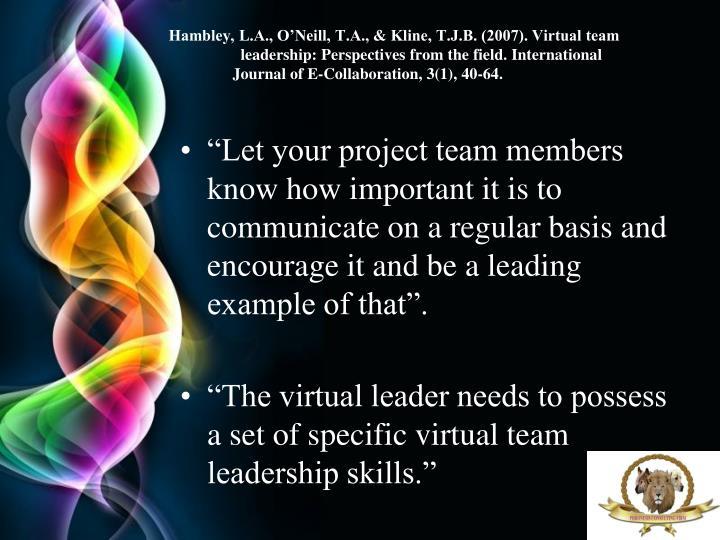Hambley, L.A., O'Neill, T.A., & Kline, T.J.B. (2007). Virtual team leadership: Perspectives from the field. International