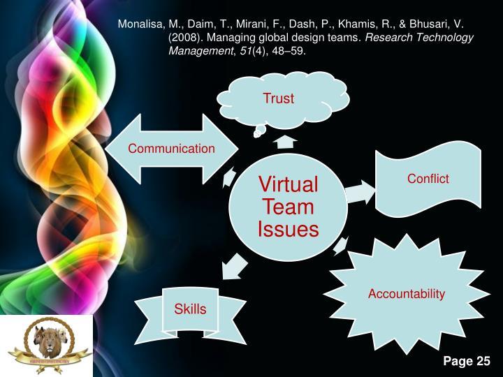 Monalisa, M., Daim, T., Mirani, F., Dash, P., Khamis, R., & Bhusari, V. (2008). Managing global design teams