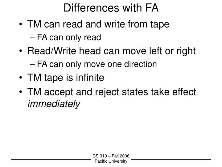 Differences with FA