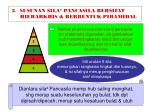 2 susunan sila pancasila bersifat hierarkhis berbentuk piramidal