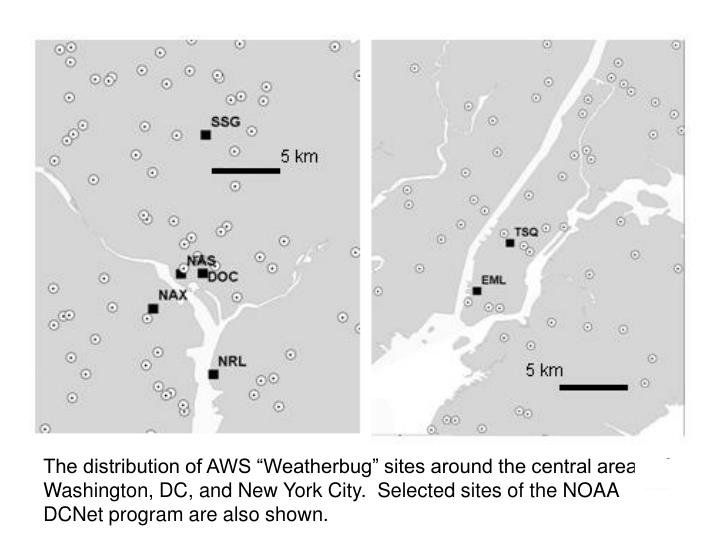 """The distribution of AWS """"Weatherbug"""" sites around the central areas of Washington, DC, and New York City.  Selected sites of the NOAA DCNet program are also shown."""