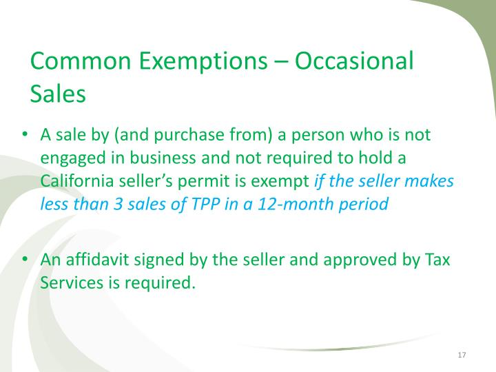 Common Exemptions – Occasional Sales
