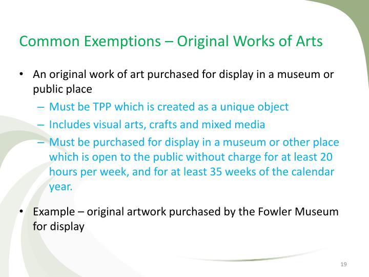 Common Exemptions – Original Works of Arts