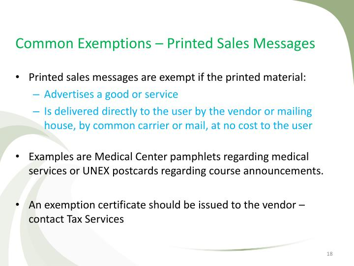 Common Exemptions – Printed Sales Messages