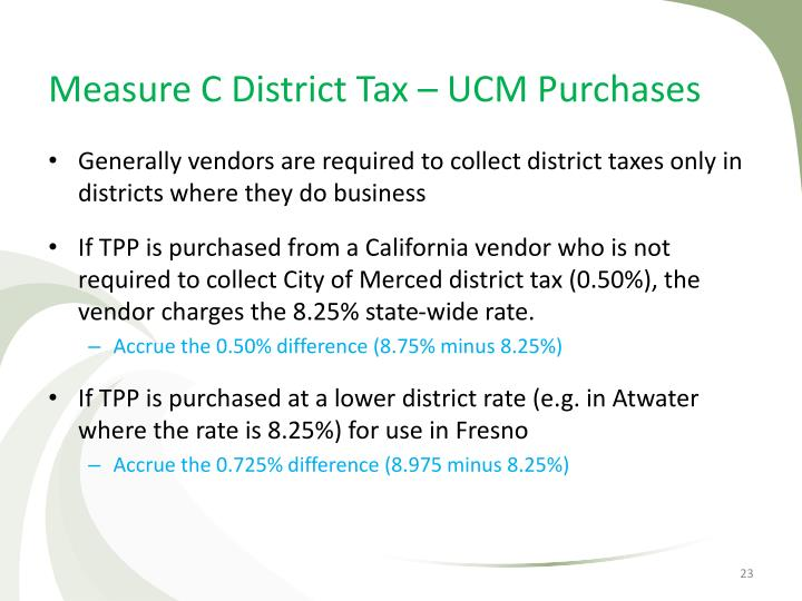 Measure C District Tax – UCM Purchases