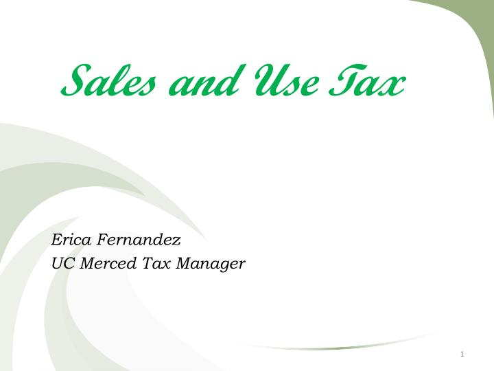 Sales and Use Tax