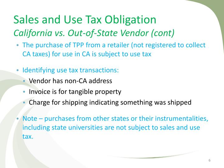 Sales and Use Tax Obligation