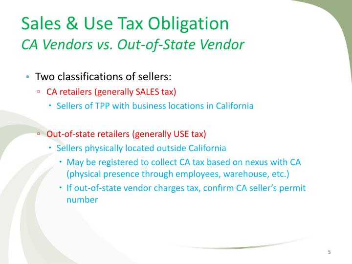 Sales & Use Tax Obligation