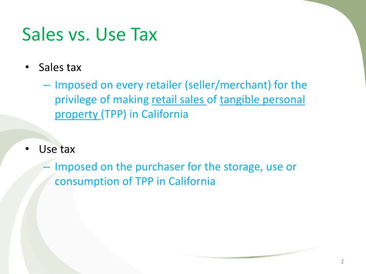 Sales vs. Use Tax