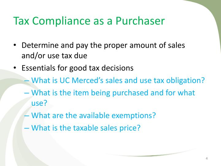 Tax Compliance as a Purchaser