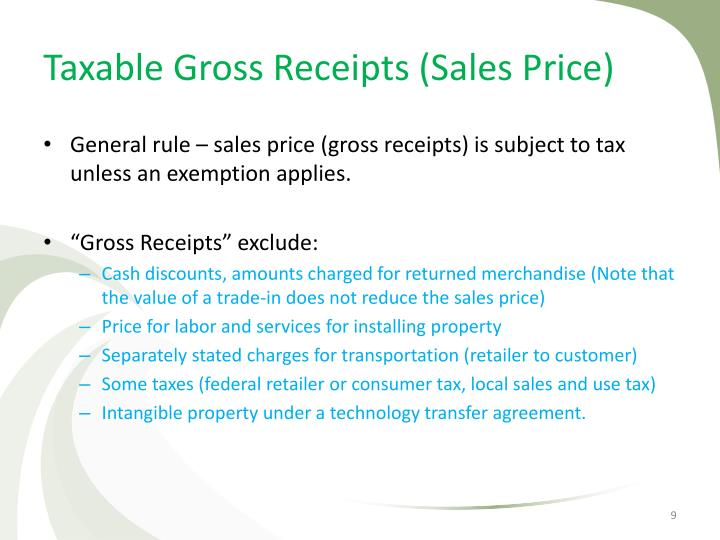 Taxable Gross Receipts (Sales Price)