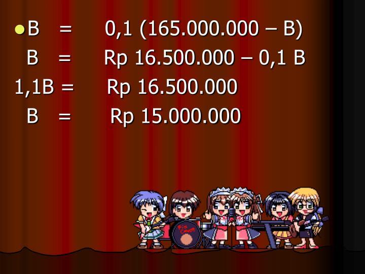 B   =     0,1 (165.000.000 – B)
