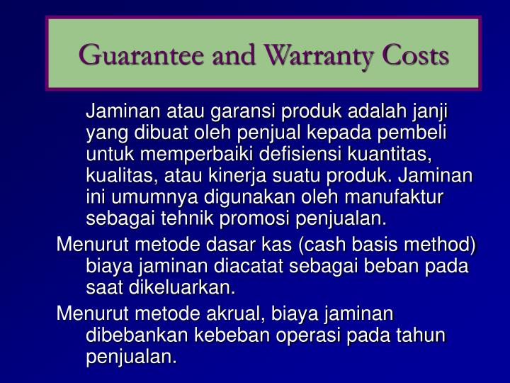 Guarantee and Warranty Costs