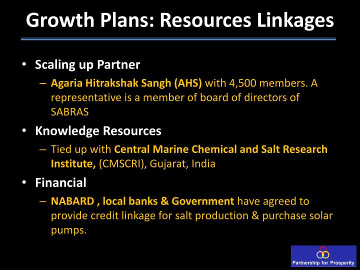 Growth Plans: Resources Linkages