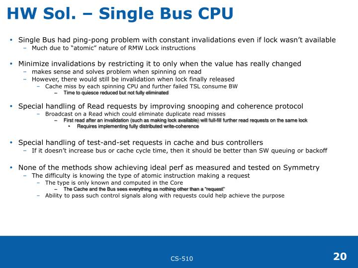 HW Sol. – Single Bus CPU