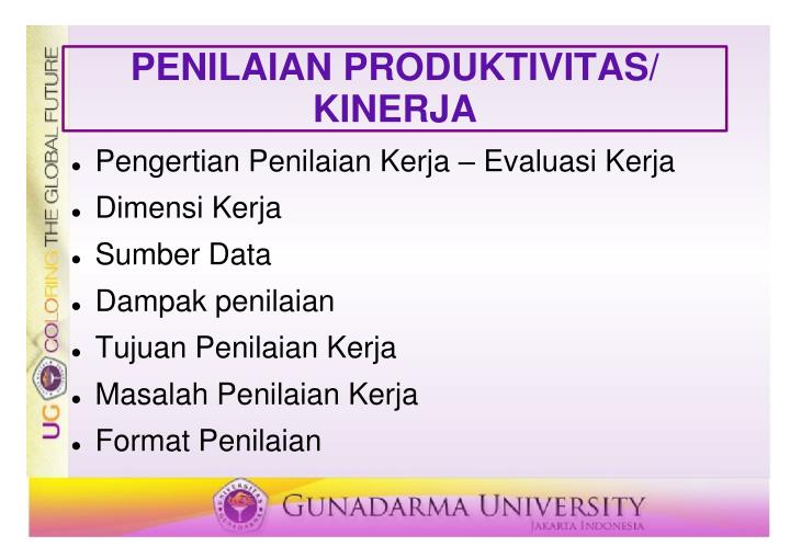 PENILAIAN PRODUKTIVITAS/ KINERJA